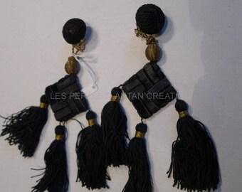 clip earrings silk tassels