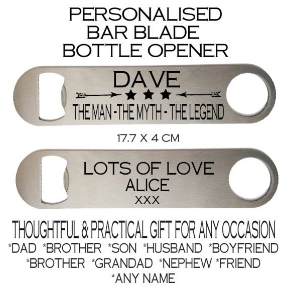 personalised bottle opener bar blade father 39 s day birthday. Black Bedroom Furniture Sets. Home Design Ideas