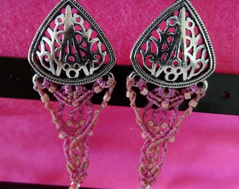 Colorful, Bohemian and woven by hand, pink earrings