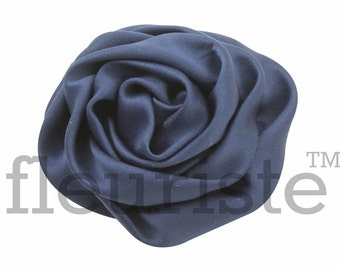 NAVY Satin Rosette, Rolled Rosette, Fabric rose, Rolled Rosette, Wholesale Flower, Fabric Flower, Wedding Flower, Flower Embellishment