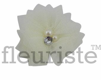 IVORY Tulle Flower, Satin flower, Fabric rose, Rolled Rosette, Wholesale Flower, Fabric Flower, Hairbow Flower, Flower for headband, 3