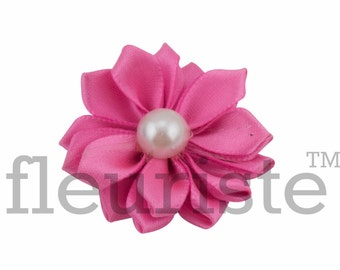 MEDIUM PINK Ribbon Flower With Pearl, Satin flower, Fabric rose, Rolled Rosette, Wholesale Flower, Fabric Flower, Satin Flower, 3pc