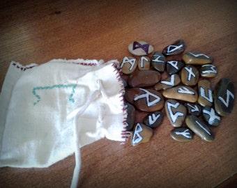 runes, stone, stone runes, working, dedicated, linen, bag, embroidery,