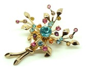 Vintage 1950s Brooch  Flower Brooch  Flower Pin  Diamante Brooch  Floral Brooch  Vintage Pin  Vintage Brooch