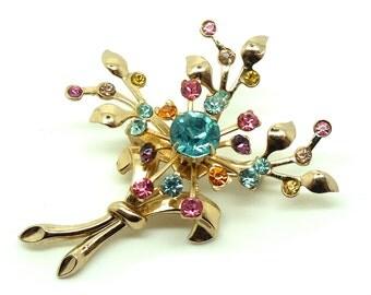 Vintage 1950s Flower Brooch | Flower Brooch | Flower Pin | Diamante Brooch | Floral Brooch | Vintage Pin | Vintage Brooch | 50s Flowers