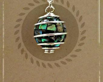 Mosaic Paua Shell Necklace // Paua Shell Pendant // Abalone Shell Necklace // Abalone Shell Pendant