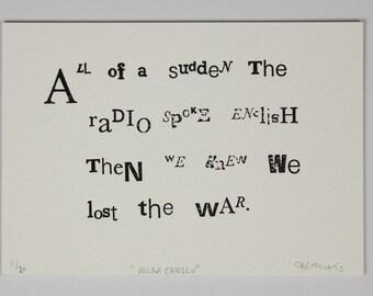 Small Handmade Letterpress Print