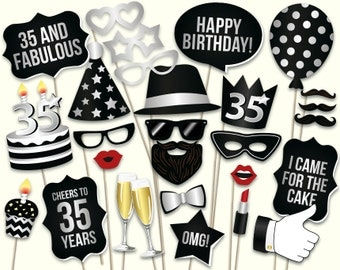 35th birthday photo booth props: printable PDF. Black and silver thirty fifth birthday party supplies. Instant download Mustache, lips