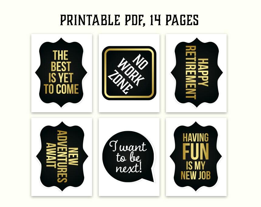 Retirement photo booth props: printable PDF. by HatAcrobat ...