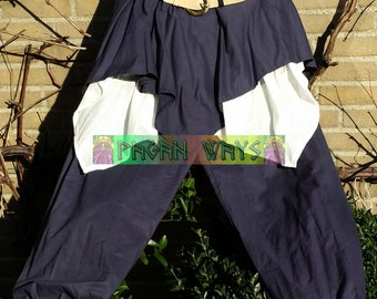 Baggy pagan fantasy pants - dark blue trousers with white blue skirt - bohemian hippie indie folk fantasy festival psytrance goa harem pants