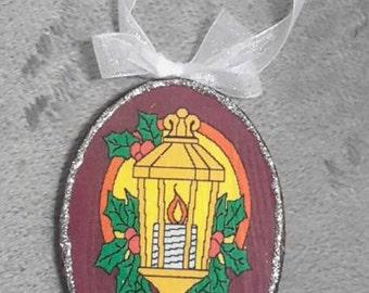 Christmas Street Lamp Decoupage Ornament