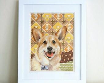 Corgi Dog Watercolor Portrait, Pet Illustration, Framed Painting of Royal Corgi by Ezartesa
