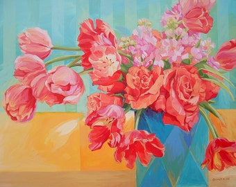 Original Acrylic Flower Painting, Contemporary Tulips and Roses in Vase Colorful Acrylic Painting on Board by Ezartesa