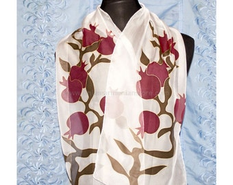 Pomegranates Silk Scarf - Handmade Batik From Armenia