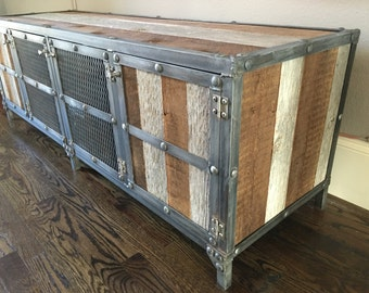 Rustic Industrial Entertainment Center / Media Console / TV Stand. Modern Steel and Reclaimed wood credenza / buffet