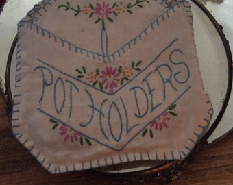 Pot holders, linen, embroidery,