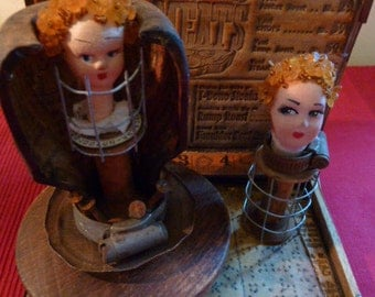 Altered art doll assemblage.........The Butcher Girls