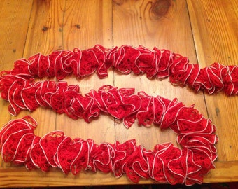 Red Ruffle Scarf with a Silver Trim