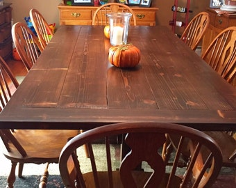 Rustic Farmhouse Table with Pedestal Legs
