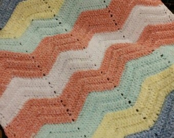 Blue/Green/Yellow/Coral/White Baby Blanket