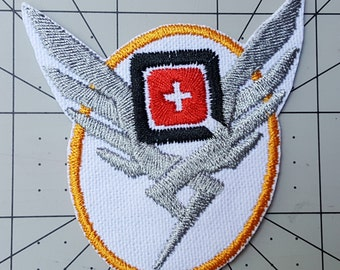 Mercy Overwatch Inspired Embroidered Cosplay Costume Mercy Patch - Sew-on or Iron-On patch - w2.77in x h2.75in