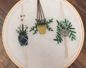 Embroidered Macrame Hanging Planters