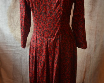 True vintage 80s red, black and grey print drop waist midi dress