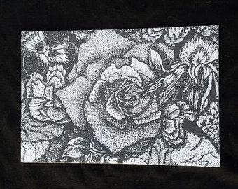 "Floral - 4"" X 6"" Stippling print on cardstock."