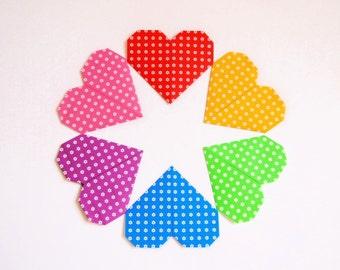 Origami Paper Hearts, 6 Colors 24 Origami Hearts, Paper Hearts
