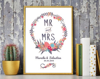Wedding day art print, anniversary mural ' Mr & Mrs', personalized DIN A4 Watercolour