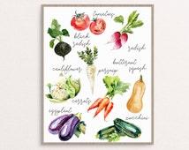 Vegetables Print, Watercolor Vegetables, Kitchen Art, Kitchen Decor, Kitchen Printable, Kitchen Print, Vegetables Printable, Veggies Print