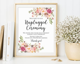 Unplugged Ceremony Sign, Unplugged Wedding Sign, Unplugged Sign, No Phones Sign, No Cameras Sign, No Cell Phone Sign, Printable Wedding Sign