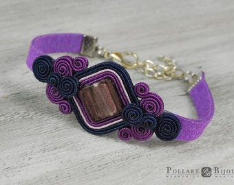 Soutache bracelet Boho bracelet Boho jewelry Purple jewelry Purple soutache Customized jewelry