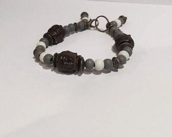 White and Grey Wooden Buddah Beaded Bracelet - HANDMADE