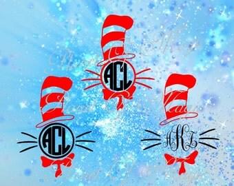 Dr Seuss Svg, Seuss Monogram Svg, Cat In The Hat Svg, Cricut Digital File, Silhouette Dxf
