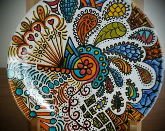 """Doodle """"Zentangle"""" Side Plate - Hand Decorated 'Sharpie Plate'"""
