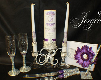 Royalty...Unity Candle / Holders,Champagne Toasting Flutes, Cake Server , Cake topper, Guestbook and Rhinestone Pen, Bridal gift