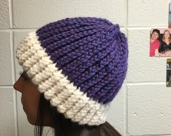 Two toned purple and white beanie