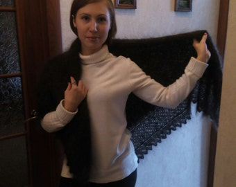 Handknitted Natural Down Lace Orenburg Shawl, 150cm х 150cm (4.9ft х 4.9ft)