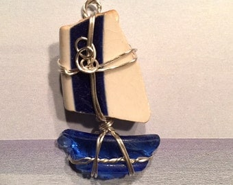 Blue Seaglass and Porcelain Sailboat Pendant