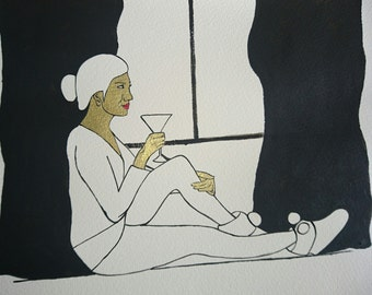 Girl sitting next to the window