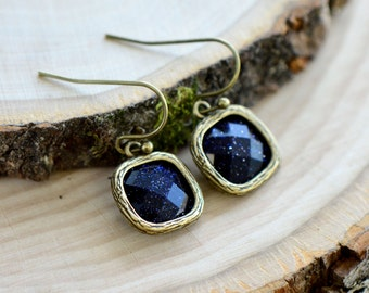 Starry Night Square Jewel Earrings - Antique Bronze Earring Hook and Frame - Sparkling Dark Blue Glass - Vintage Style - Dainty