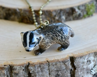 Hand Painted Porcelain Badger Necklace, Antique Bronze Chain, Vintage Style Baby Badger, Ceramic Animal Pendant & Chain (CA152)