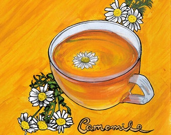 Camomile Tea A3 Painting (One-off)
