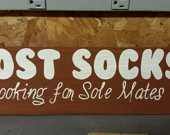 Lost Socks Wood Sign