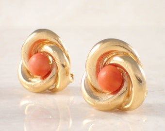 14K Yellow Gold Coral Earrings