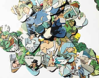 200 Tintin hearts, die cut from 1989 Tintin comic book. Confetti, party, wedding