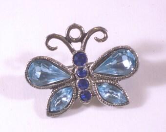 Vintage Blue Rhinestone Butterfly Brooch U3055
