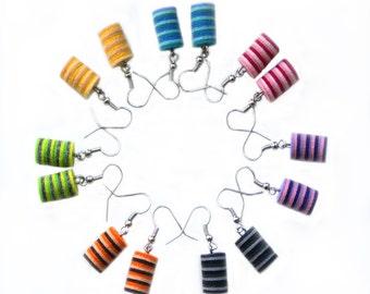 Striped felt earrings, Earrings of felt, earrings made of felt, textile earrings, Earrings made of fabric,