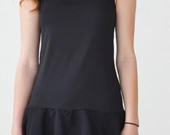 Chiffon Trim Lace Cami Shirt Top Extender in Black